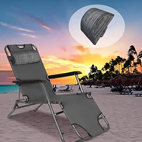 Flexzion Universal Headrest Pillow Replacement for Zero Gravity Office Reclining Lawn Patio Lounge Folding Chair Neck Head Lumbar Pillow with Adjustable Elastic Band up to 15.8in//40cm Wide Black