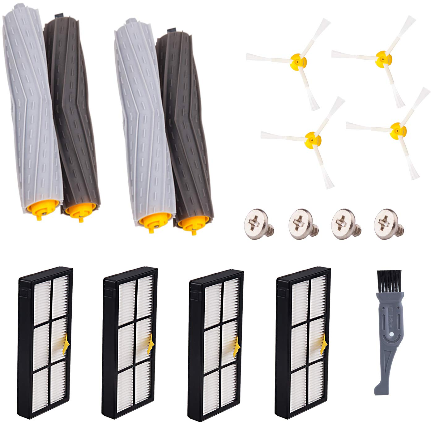 I clean Replacement Parts for iRobot Roomba 960 980 900 890 880 860 850 861 (800&900 Series), Accessories Kit with 4pcs Hepa Filter, 4pcs Brush, 2 Sets Tangle-Free Debris Extractor