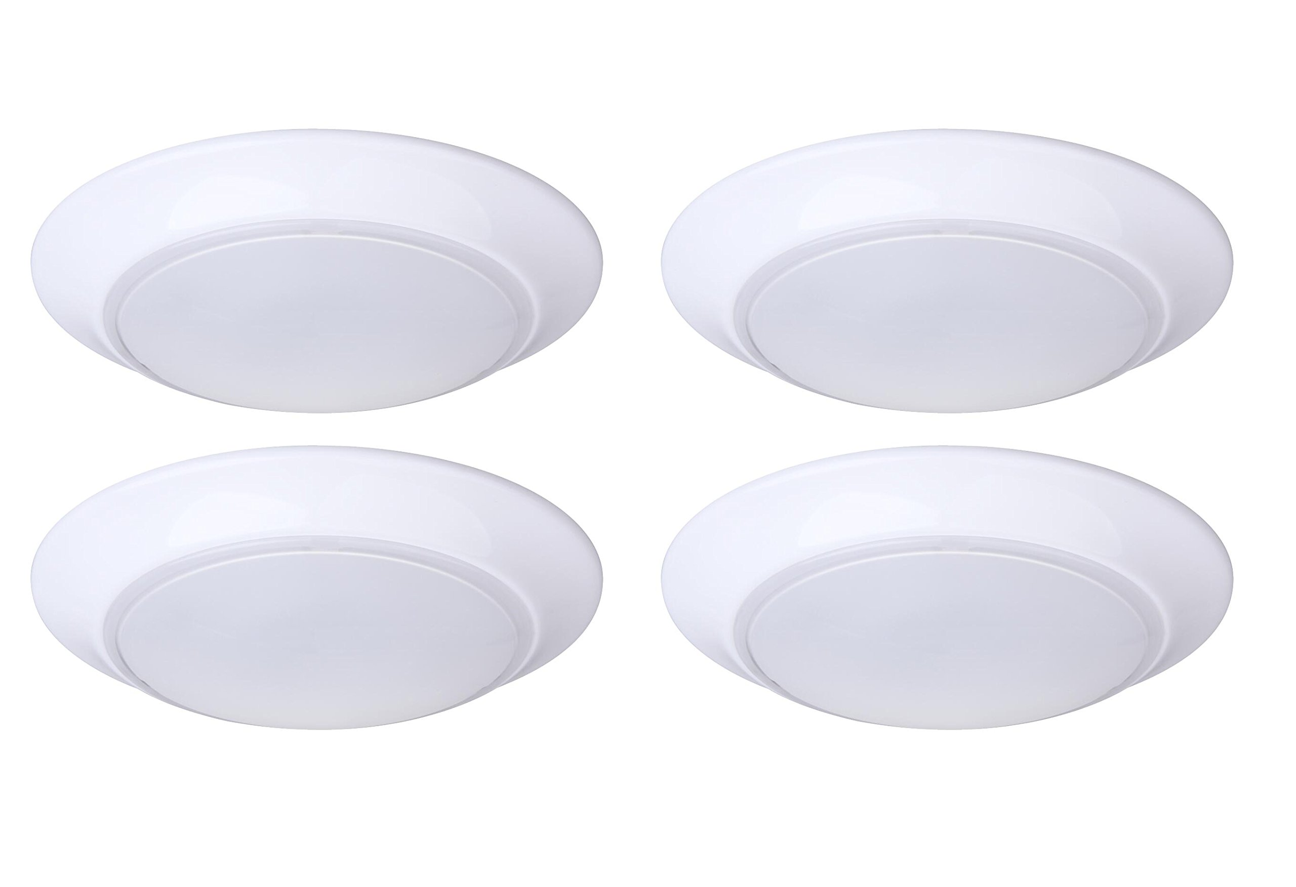 Lit-Path 7.5 inch LED Flush Mount Ceiling Lighting Fixture, 11.5W (75W Equivalent), Dimmable, 800 Lumen, ETL and ES Qualified, 4-Pack