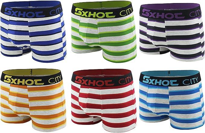 SXHOT Boxer de Algodón elástico para Hombre Calzoncillos A Rayas ...