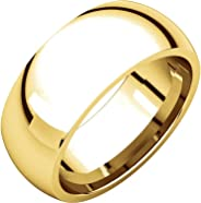 Men's and Women's 14k Yellow Gold, 8mm Wide, Heavy Comfort Fit, Plain Wedding Band