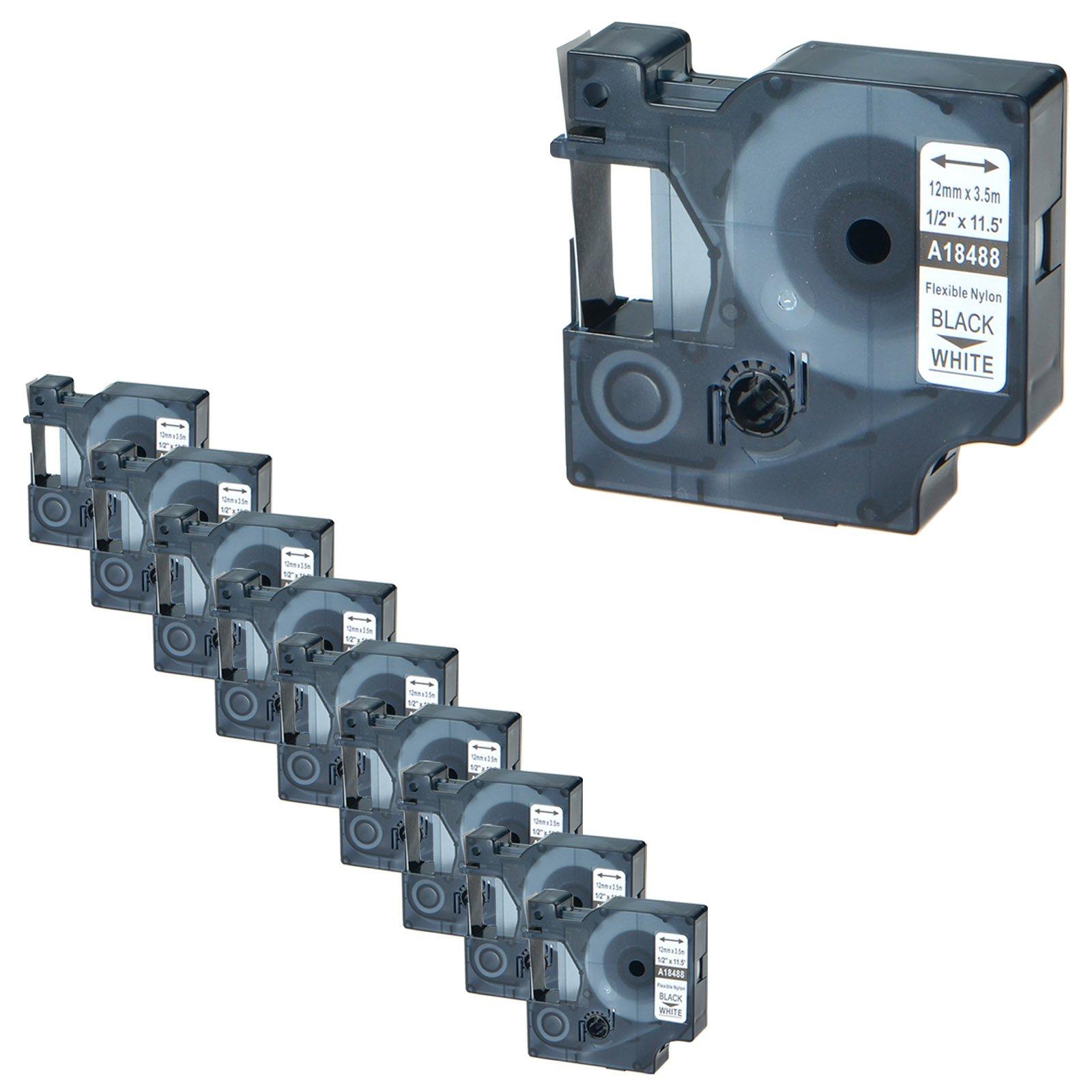 NineLeaf 10 Pack Black on White Flexible Nylon Industrial Label Tape Compatible for Dymo 18488 Rhino 4200 5000 5200 6000 Label Maker (1/2''x11.5ft)