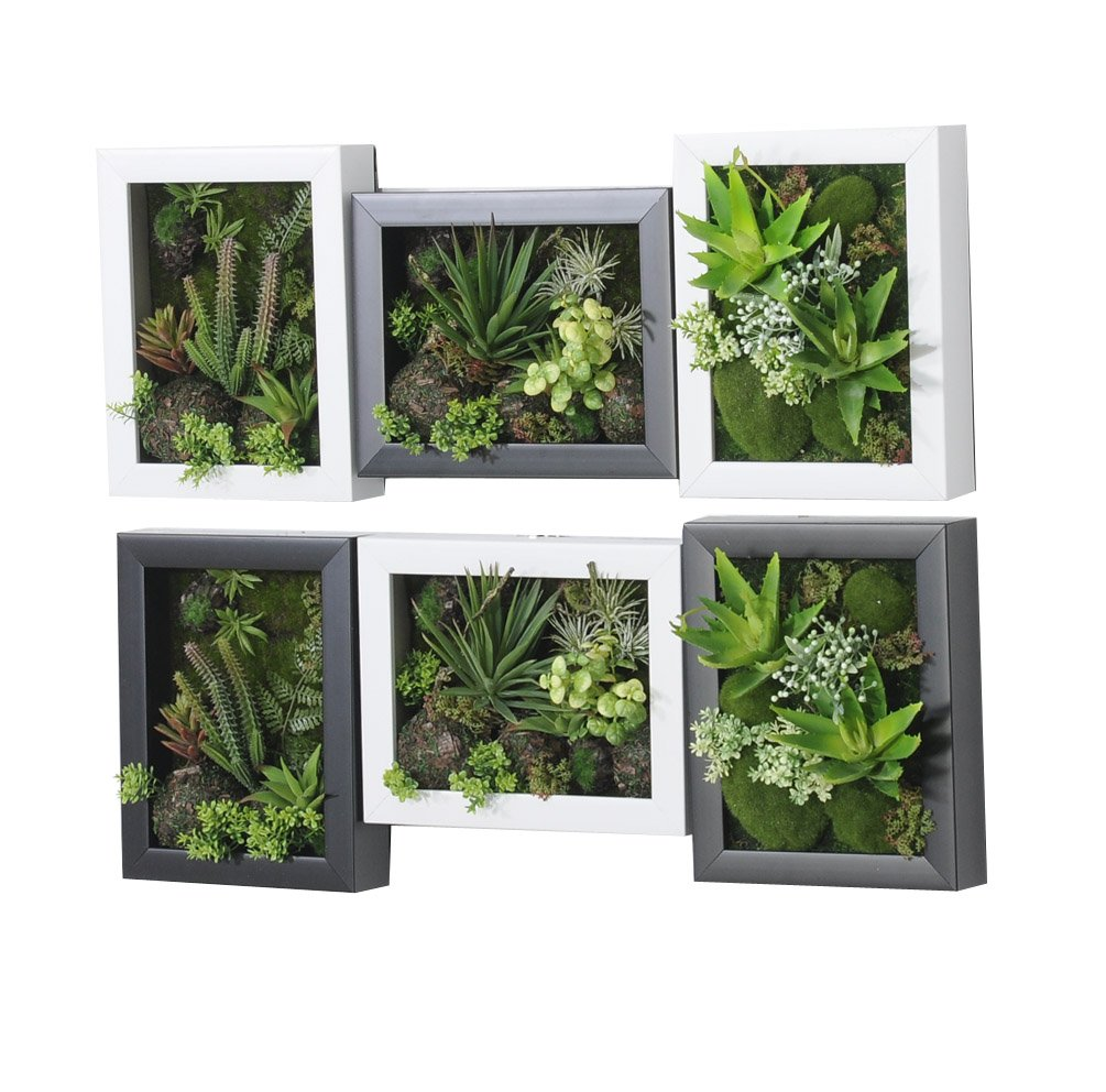 3D Artificial Flowers Wall Hanger Succulent Plants Aloe Green Leaves Grass Moss Stone with Imitation Wood Photo Frame Shape Vase Home Decoration, White Frame, 7.87 in9.84 in by Artificial Flower-Wall Hanger (Image #7)