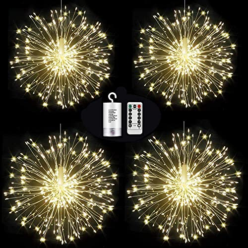 4 Pack 120 LED Firework Lights,8 Modes Dimmable String Fairy Lights with Remote Control,Waterproof Decorative Hanging Starburst Lights for Christmas, Home, Patio, Indoor Outdoor Decoration,Warm White