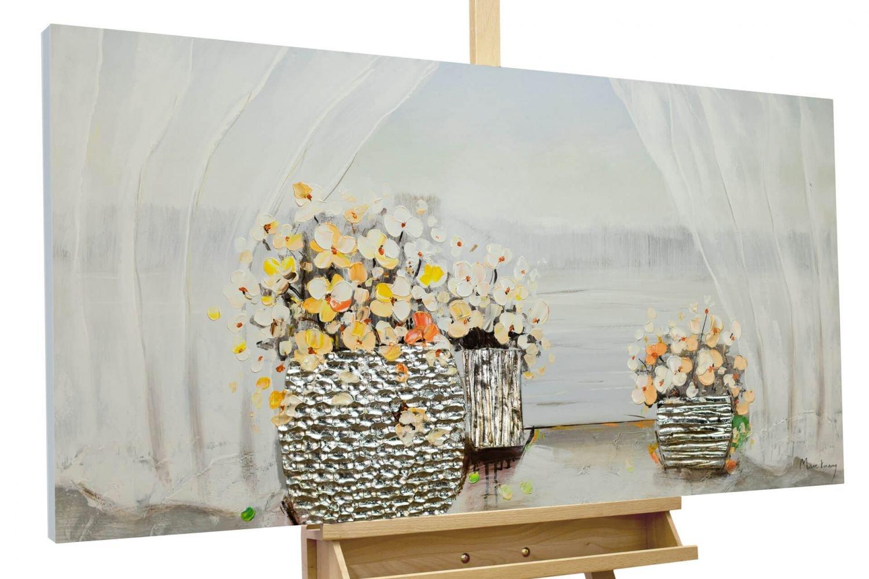 KunstLoft® Gemälde & 039;Das Erwachen des Frühlings& 039; in 120x60cm   XXL Leinwandbild handgemalt   Blumenstrauss mit gelben Blüten auf Weiß   signiertes Wandbild-Unikat   Acrylgemälde auf Leinwand