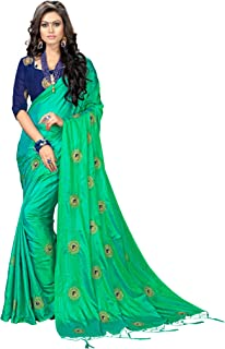 4540f1303 Vaidehi Fashion Paper Silk Embroidered Saree with blouse piece(Golden-Mor)