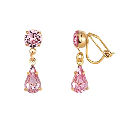 Pink Swarovski Crystal Clip-on Earrings - Women s Gold Plated Teardrop  Earrings Made From Two Light Rose Swarovski Crystals - Presented in a  Luxury Giftbox  ... d68582709