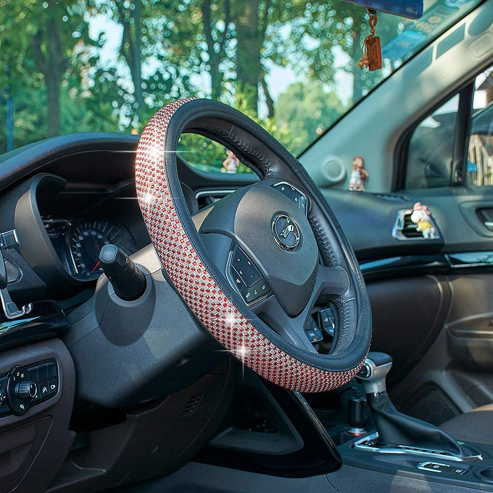 UR URLIFEHALL Car Shiny Diamonds Steering Wheel Cover Car Truck Steering Wheel Soft Skidproof Cover Soft Padding/&Breathable Steering Bra Universal Car Wheel Protector Pink