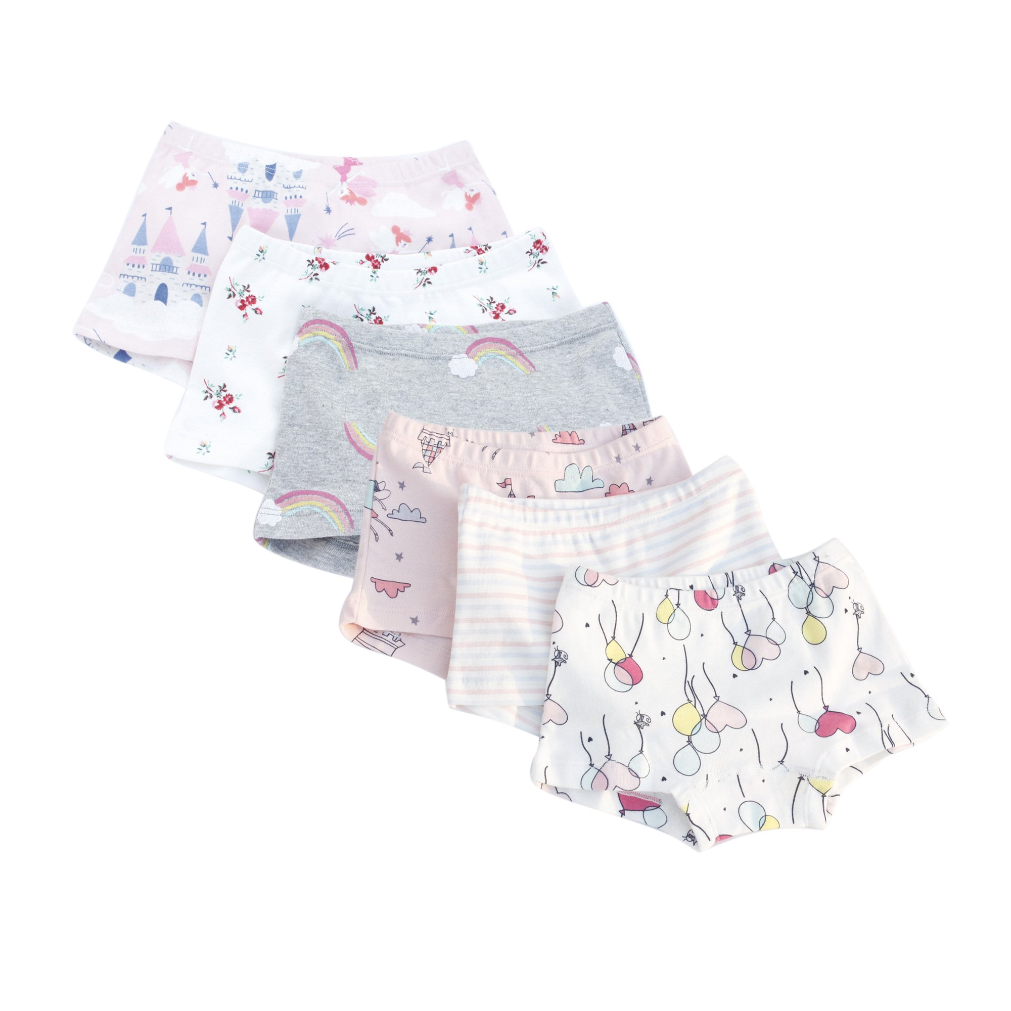 BOBO Kids Girls' Boyshort Underwear Printed Cotton Briefs Panties Set (Pack of 6) Size 3-4 Years