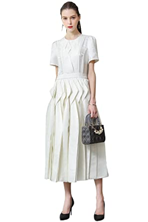 Voa Heavy Silk Jacquard White Party Dresses Women Long Dress Plus
