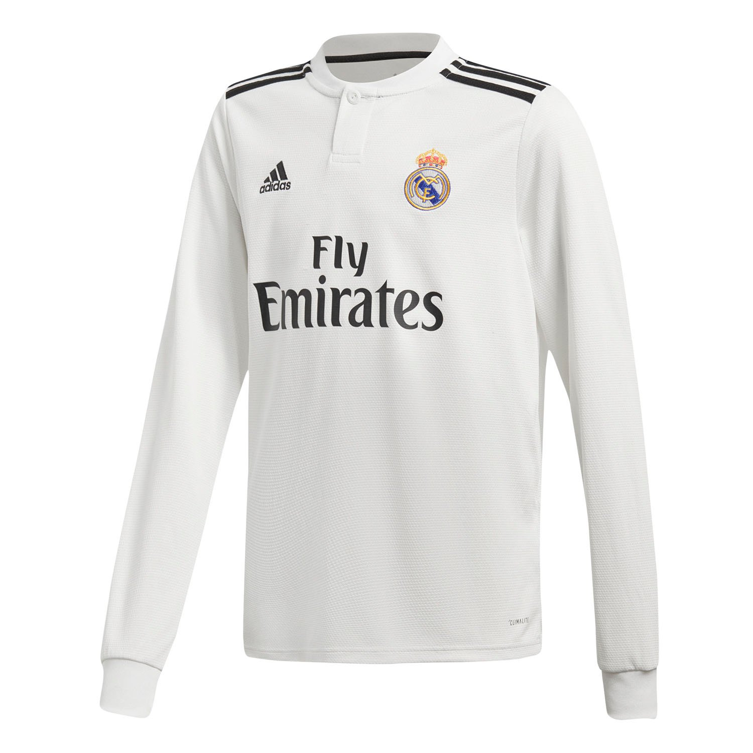 56b9bd3fd2d Amazon.com   adidas 2018-2019 Real Madrid Home Long Sleeve Football Soccer  T-Shirt Jersey (Kids)   Sports   Outdoors