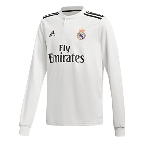47bf7a96f25 Amazon.com : adidas 2018-2019 Real Madrid Home Long Sleeve Football Soccer  T-Shirt Jersey (Kids) : Sports & Outdoors