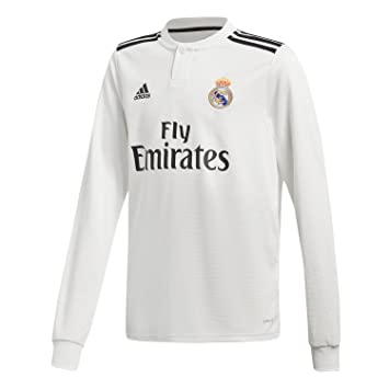 241e57f8c adidas Real Madrid Home Junior Long Sleeve Jersey 2018 2019 7-8 years White
