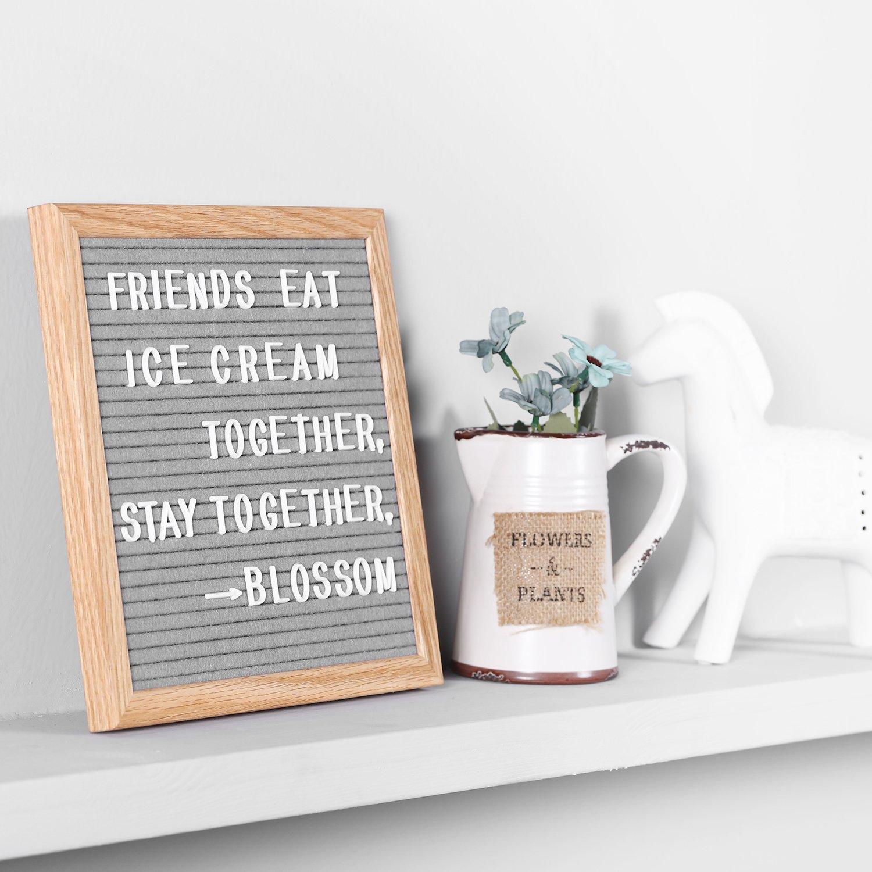 Retro Design Rahmen aus Massiver Eiche Letterboard Grau Briefbrett 352 wei/ßen Tafel Memoboard Buchstaben und Sonderzeichen sowie Zahlen 25.4 x 25.4 cm Rose Kuli Filz Brief Board