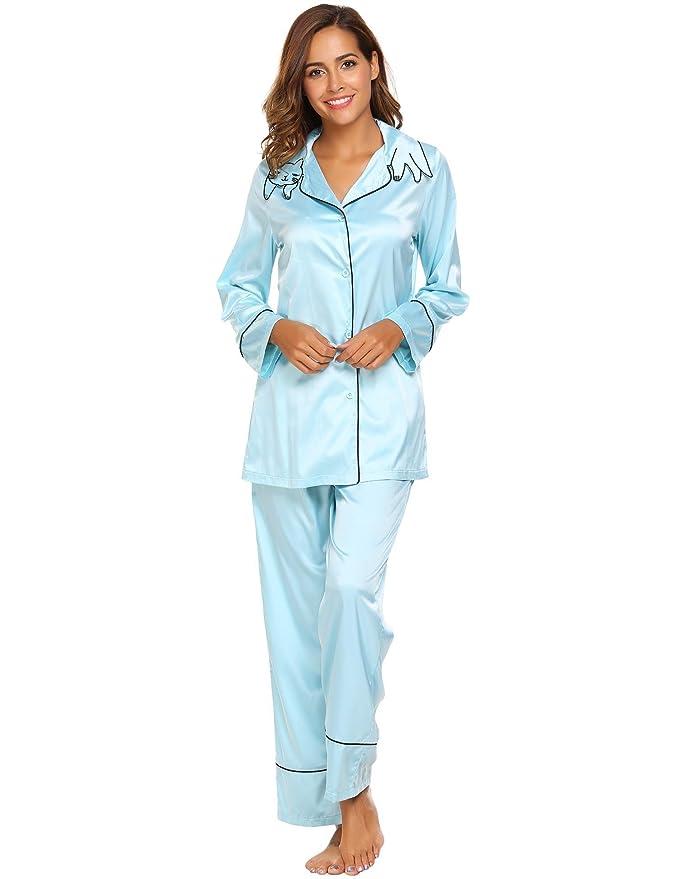 Etuoji Womens Long Sleeve Pyjama Sets EmbroideryTurn-down Collar PJ Set Top & Pantst at Amazon Womens Clothing store: