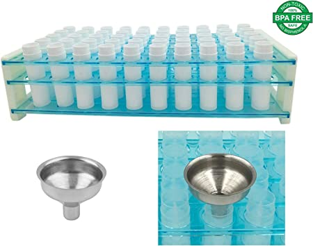 DIY Lip Balm Kit – Easy Way to Fill Lip Balm Containers – NO Tipping Over – NO Spilling Lip Balm Containers 50 White Easy Pour Funnel Plastic Test Tube Rack Tube Holder Holds 50 Lip Balm Tubes