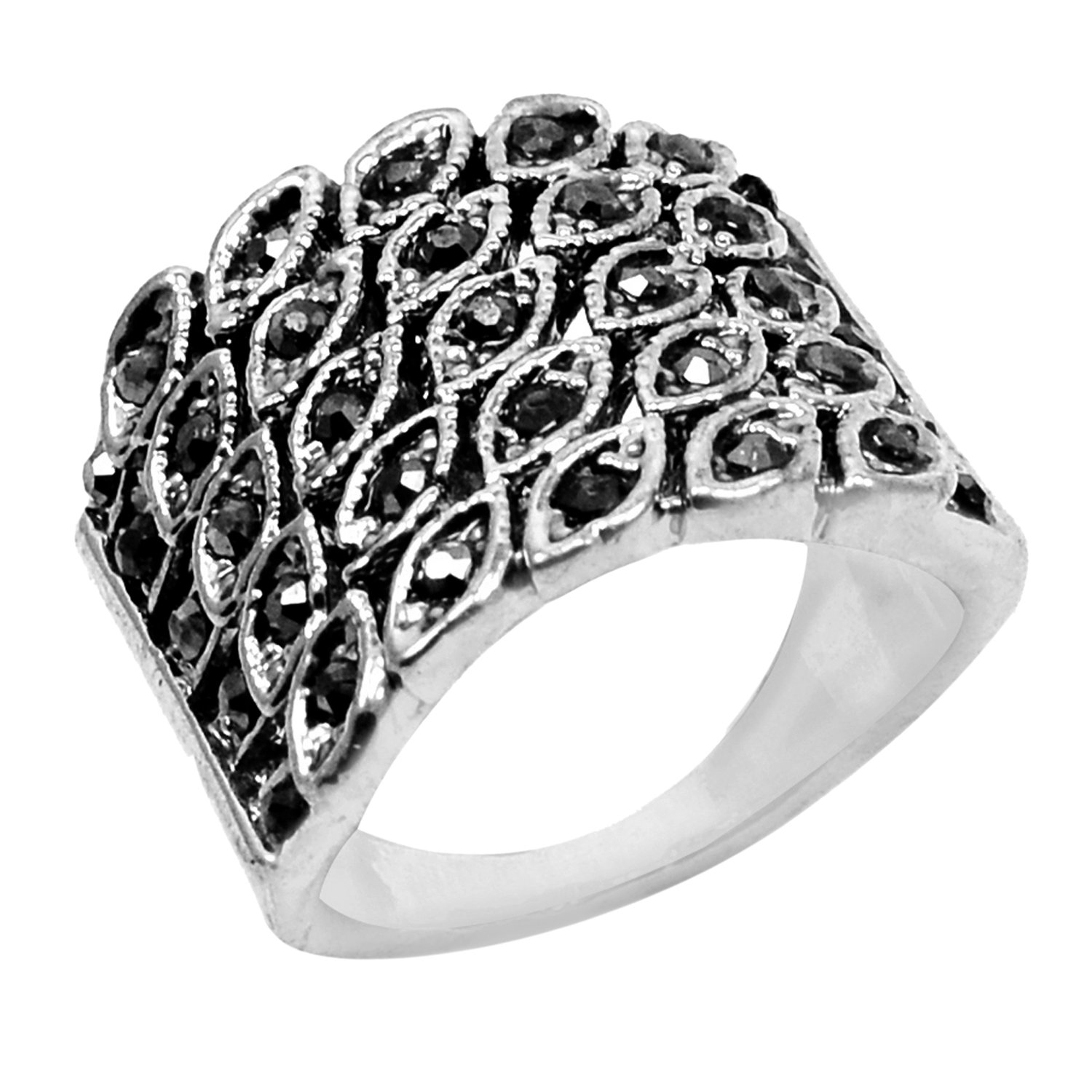 Silvestoo Jaipur Marcasite Silver Plated Ring Jewelry