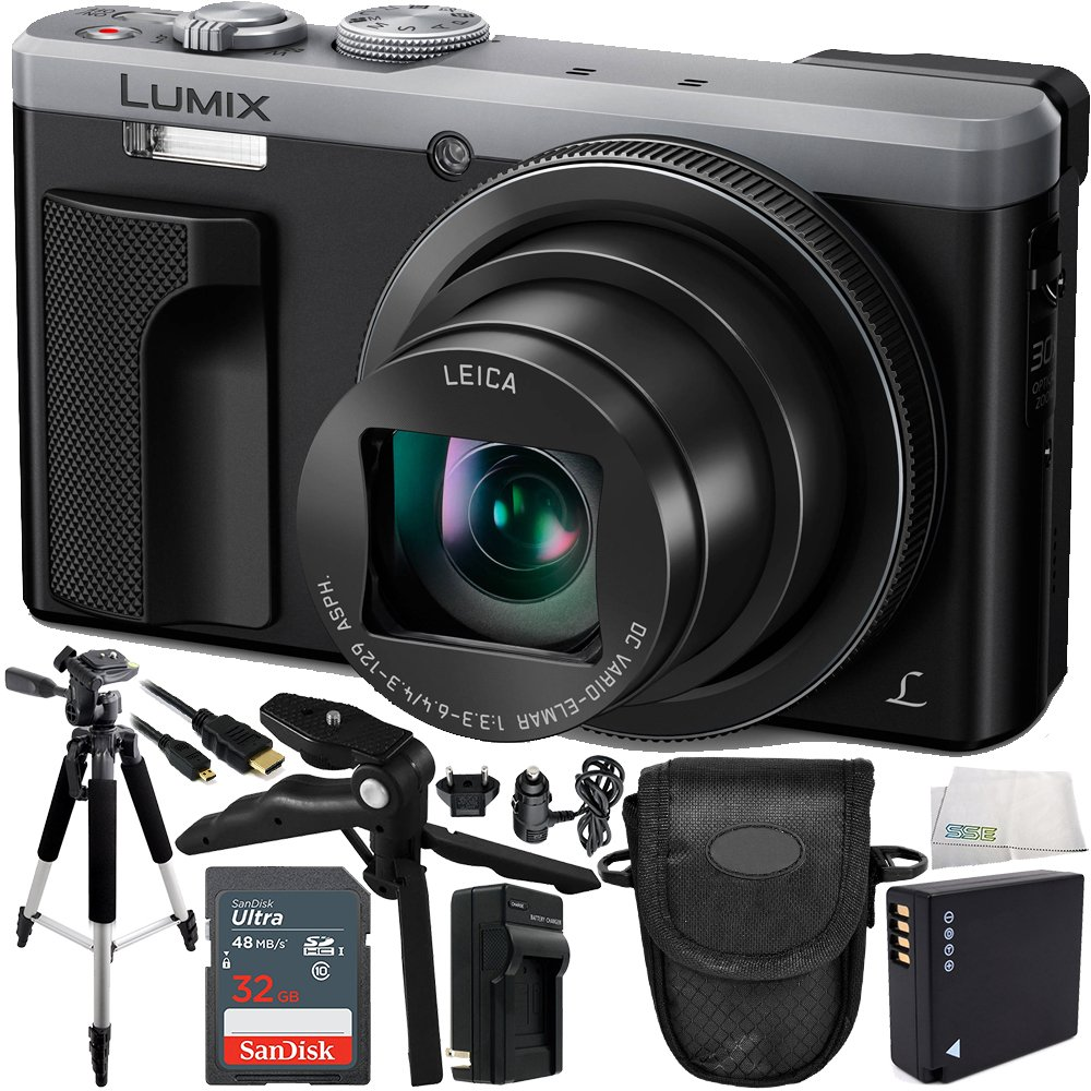 Panasonic Lumix DMC-ZS60 Digital Camera (Silver) 16GB Bundle 10PC Accessory Kit Includes SanDisk 16GB Extreme SDHC Memory Card + Replacement DMW-BLG10 Battery + AC/DC Rapid Charger + MORE