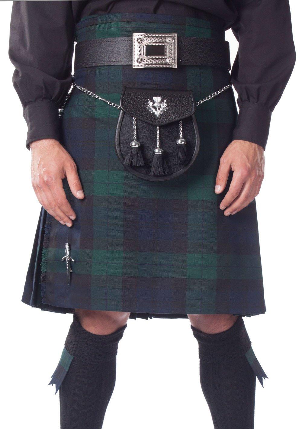 Kilt Society Mens 8 Yard Scottish Kilt Black Watch Tartan 30'' to 34''