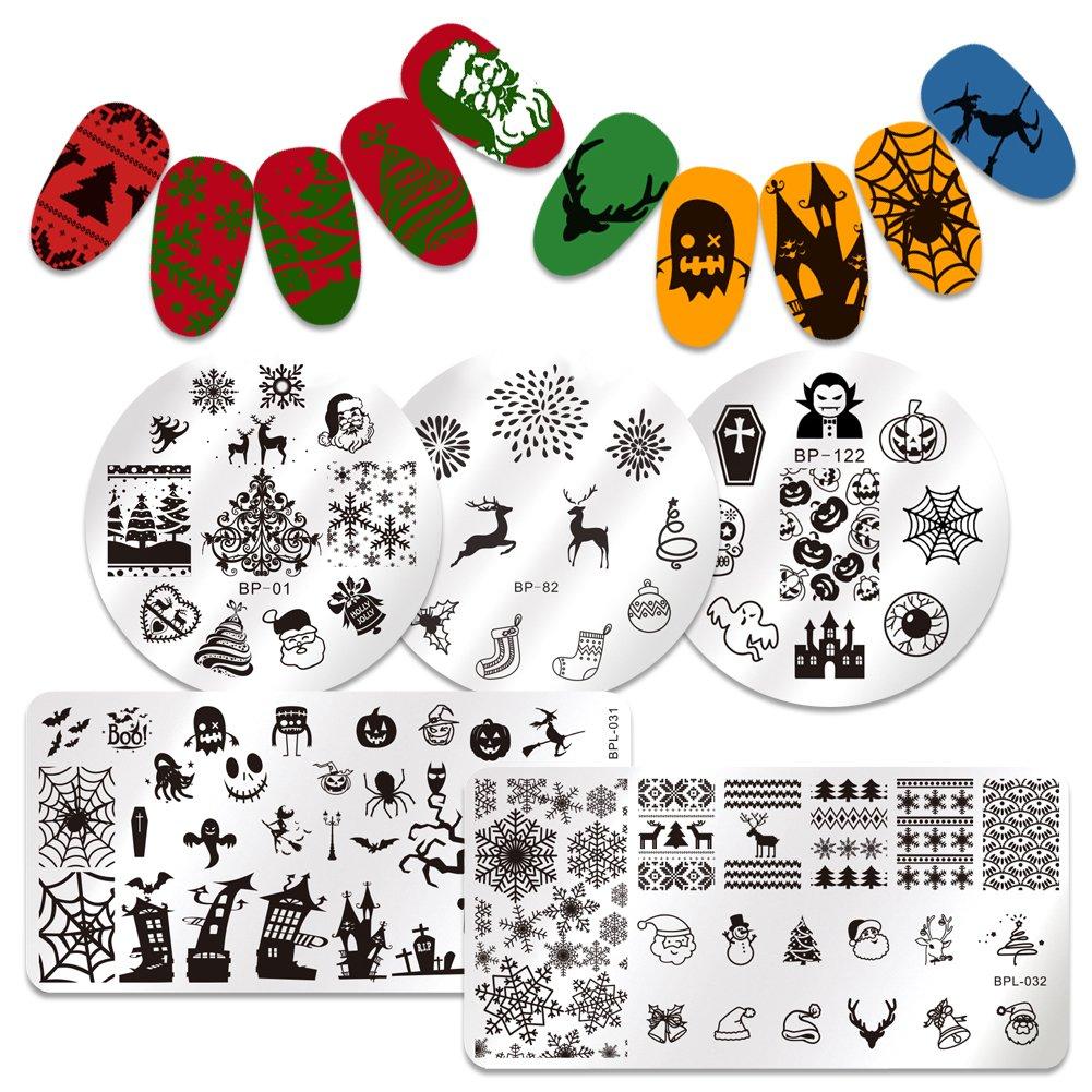 BORN PRETTY 5Pcs Nail Art Stamping Plates Christmas Halloween Santa Dear Pumpkin Snow Cobweb Manicure Print Template Image Plate
