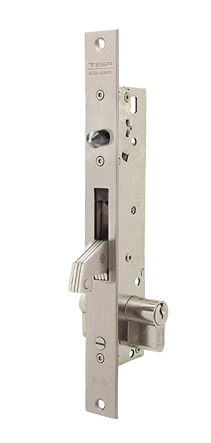 Tesa Assa Abloy, 2241C203I Cerradura Monopunto para puertas correderas, Entrada 20mm, Acero Inoxidable