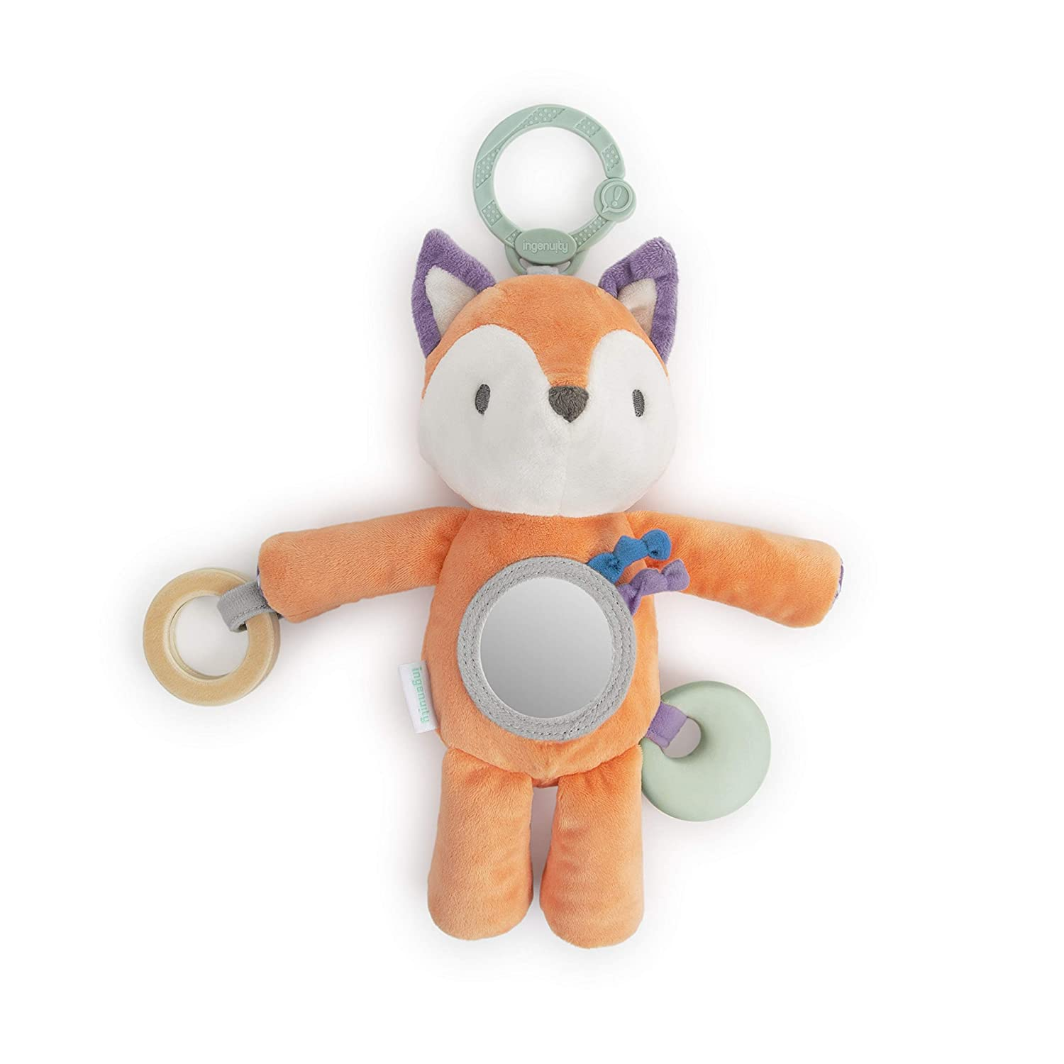 Ingenuity Premium Soft Plush Travel Activity Teether Toy - Kitt The Fox, Ages Newborn +