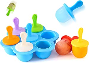 LXSLFY 1pcs 7-cavity DIY popsicle mold with colored plastic sticks, mini silicone popsicle mold, lollipop and ice cream mold, non-stick baby food grade freezer tray storage container (Colorful)