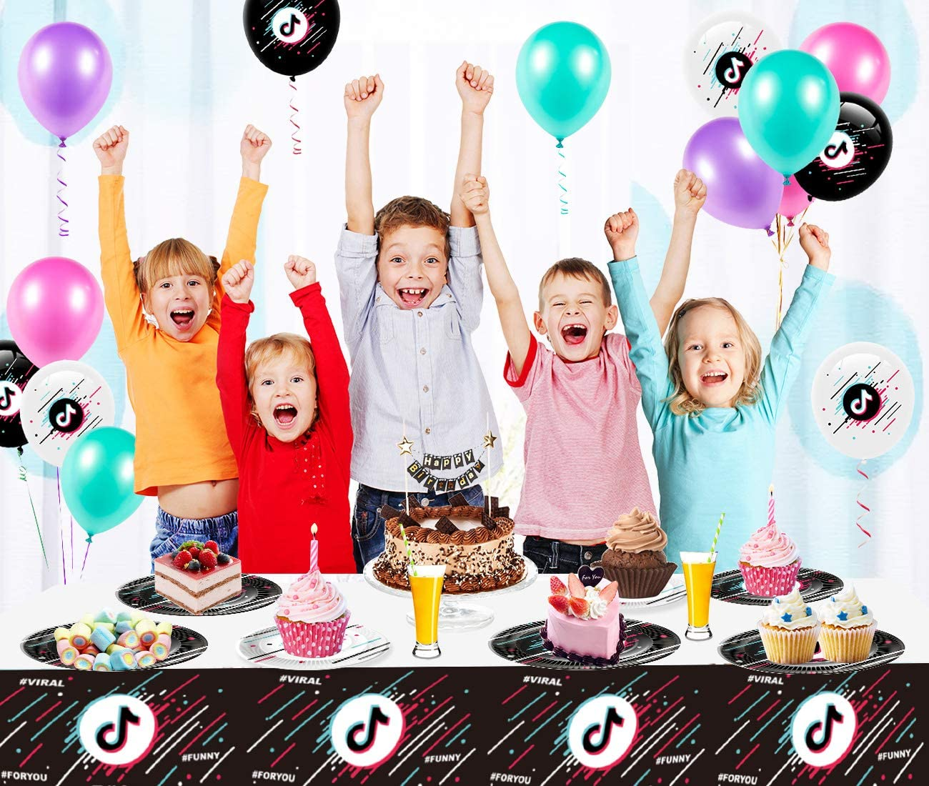 Tableware Set Included Tik Tok Tablecloth Knives 81PCS Tik Tok Birthday Party Supplies for 16 Guests Forks and Napkins Plates Tik Tok Party Decorations Social Media Party for Boys and Girls