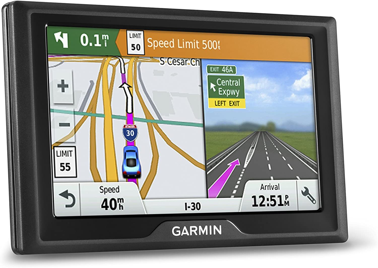 Garmin Drive 50 USA LM GPS Navigator System with Lifetime Maps, Spoken Turn-By-Turn Directions, Direct Access, Driver Alerts, and Foursquare Data, (Renewed)