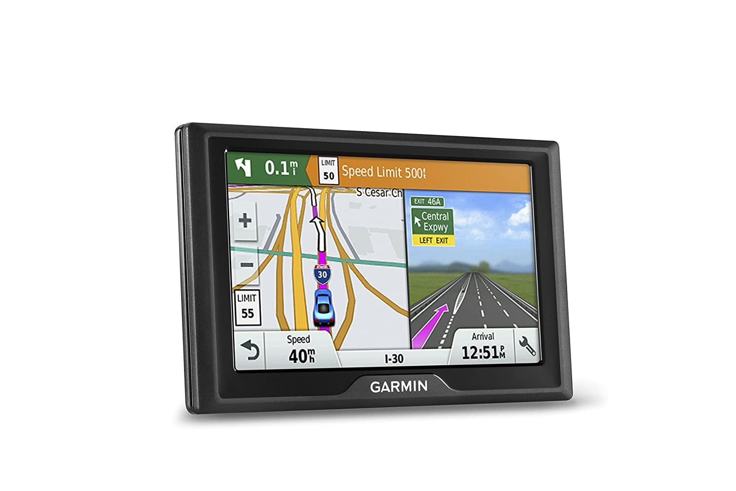 Garmin Drive 50 USA LM GPS Navigator System with Lifetime Maps, Spoken Turn-By-Turn Directions, Direct Access, Driver Alerts, and Foursquare Data, Renewed