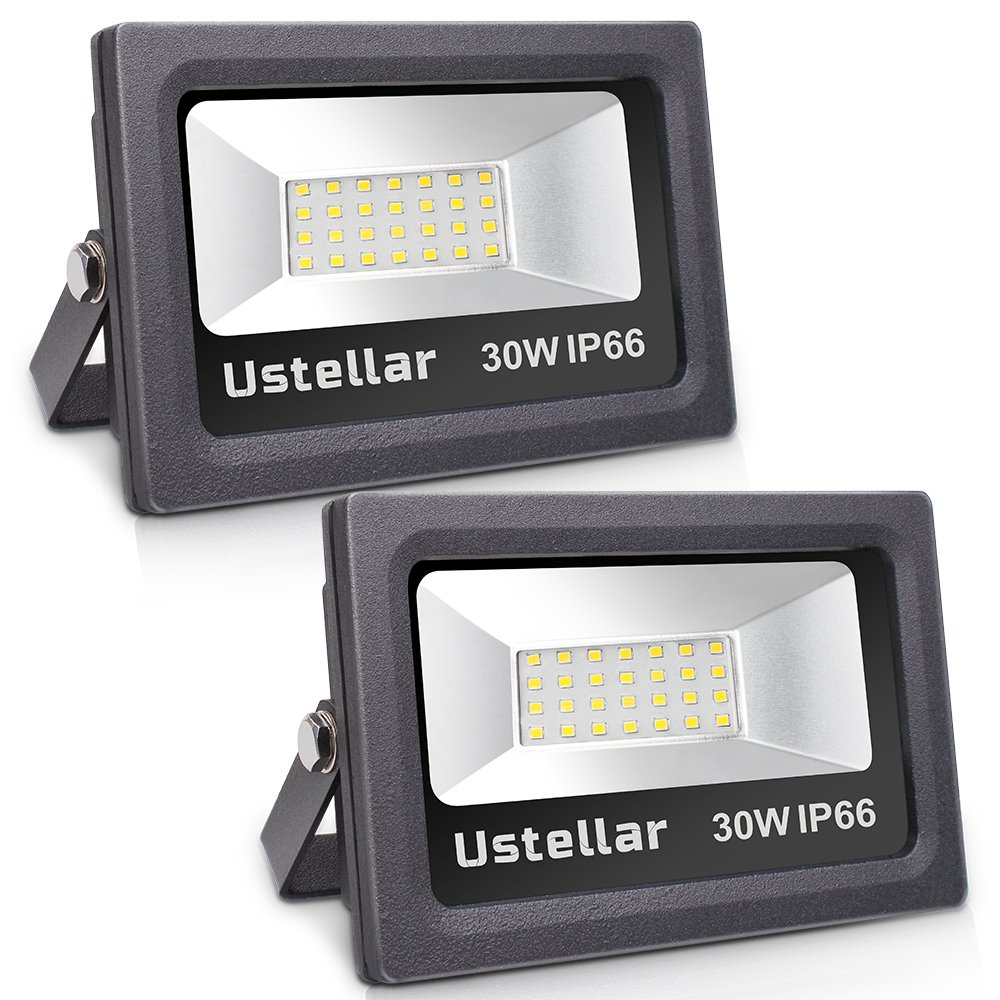 Ustellar 2 Pack 30W LED Flood Light, IP66 Waterproof, 2400lm, 150W Halogen Bulb Equivalent Outdoor Super Bright Security Lights, 5000K Daylight White, Floodlight Landscape Wall Lights
