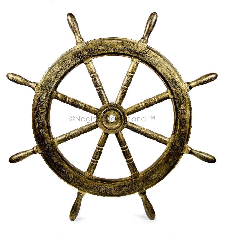 Nagina International(ナジャイナインターナショナル) Nautical高級ハンドクラフト木製操舵輪 | 海賊風家庭壁装飾&ギフト |12 Inches nwsw-antgoldn-12 B075K95CQ8 12 Inches|Antique Golden Antique Golden 12 Inches