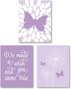 """White and Purple """"We Made A Wish And You Came True"""" Dandelion and Butterfly Nursery Print; 3-8x10"""" Paper Poster"""