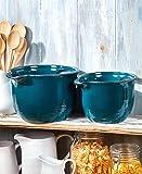 Oversized Farmhouse Stoneware Bowls - Set of 2 - Blue