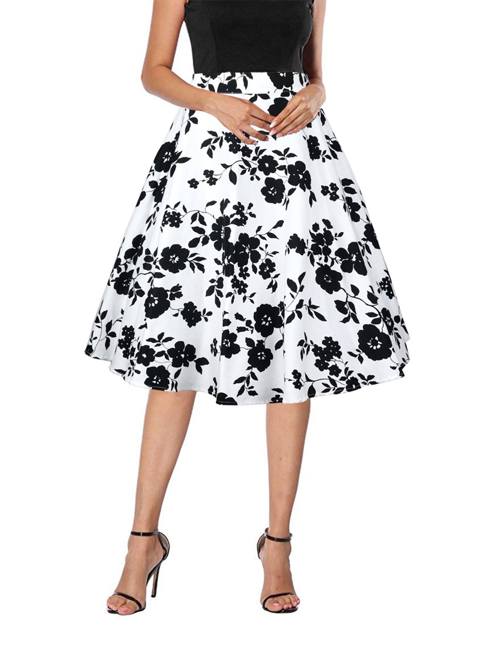 Yanmei Women's 40s 60s Party Swing Skirt with Floral Pattern Casual Skirt White X-Large 1086-9