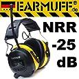 25dB (in 31dB Box) Original EARMUFF Radio Kapsel Gehörschutz Kopfhörer mit SmartPhone und MP3 Anschluss , Electronic Ear Muff. Höhere Musik-Lautstärke als PELTOR und Co. und störungsfreier Empfang