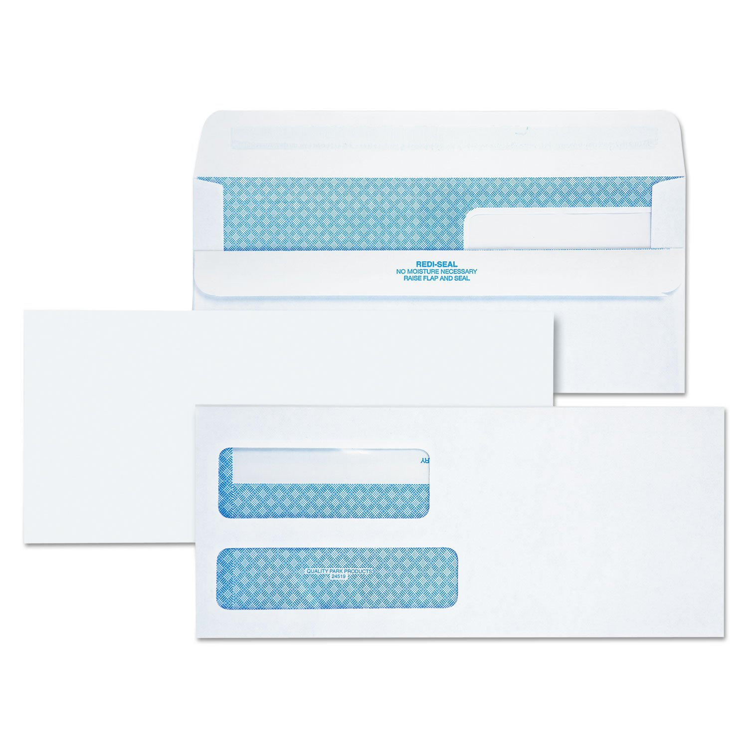 Quality Park 24519 2-Window Redi-Seal Security-Tinted Envelope, 9, 3 7/8 x 8 7/8, White, 250/CT