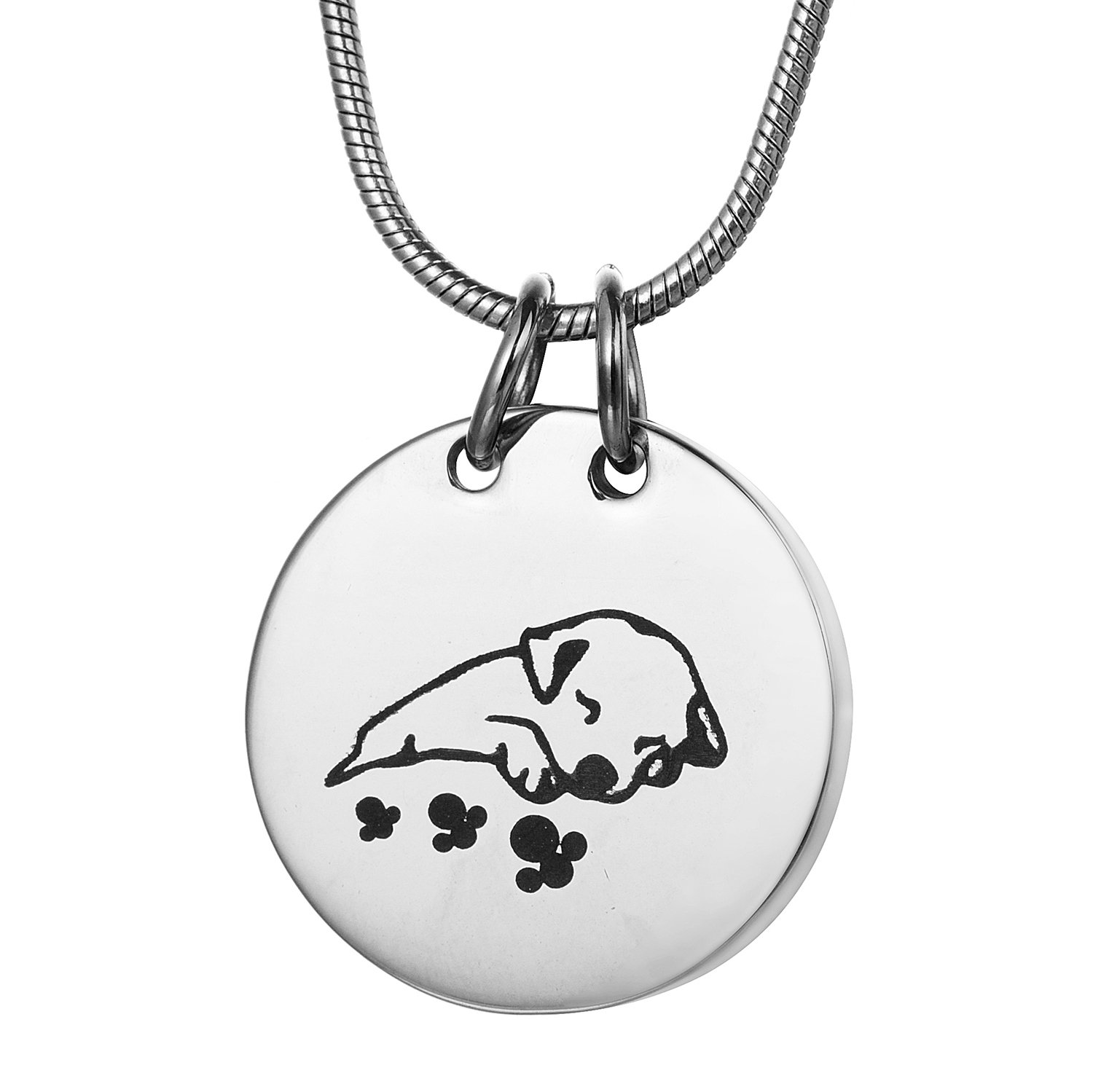 COCO Park Engraving Sleeping Dog Pet Cremation Necklace Memorial Ashes Urn Pendant Jewelry Keepsake
