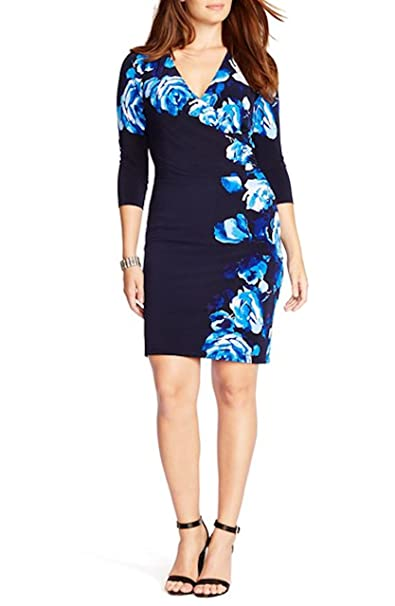lauren ralph lauren women floral print jersey dress plus size 18w lhn/bl/mt