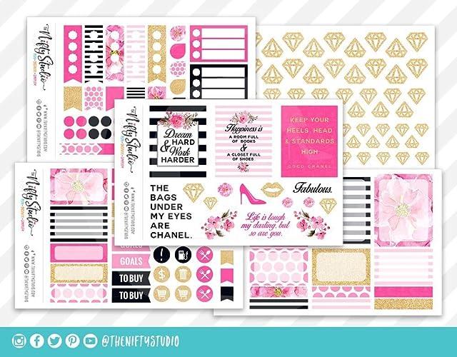 Amazon.com: Planner Stickers Kit Bundle Fashion Navy, Pink ...