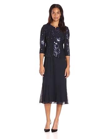 Alex Evenings Women's Sequin Mock Jacket T-Length Dress, Navy, 6