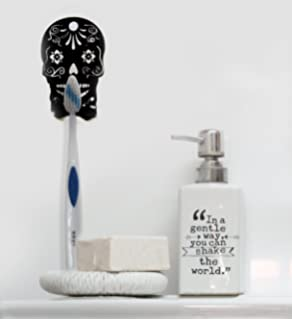 Black Sugar Skull Toothbrush Holder With Suction Cup For 1 Toothbrush,  Floral Mexican Day Of