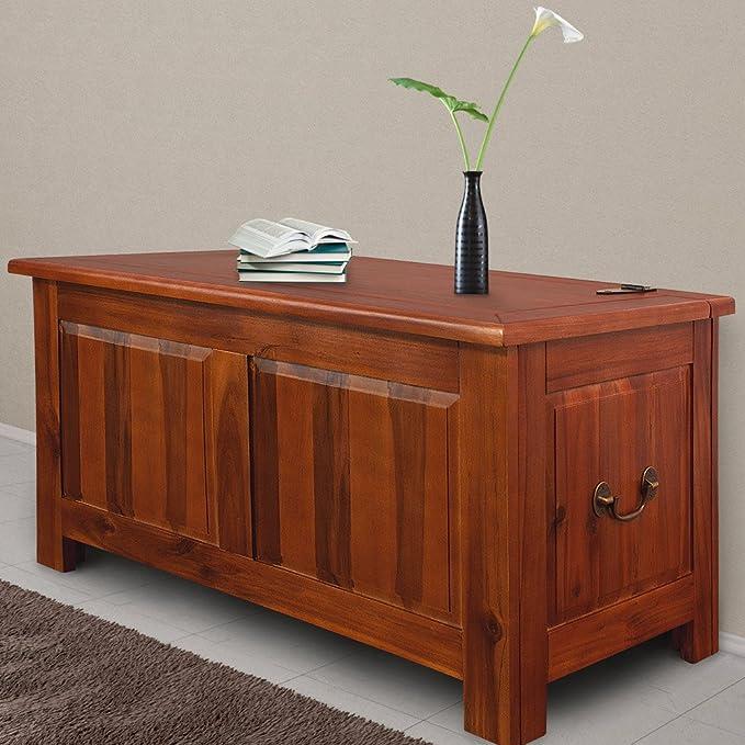 Deuba® Baúl cofre de madera maciza de acacia | mueble rústico | arcón comoda salón rústico | Muelle de gas | Asas de metal | Versátil |