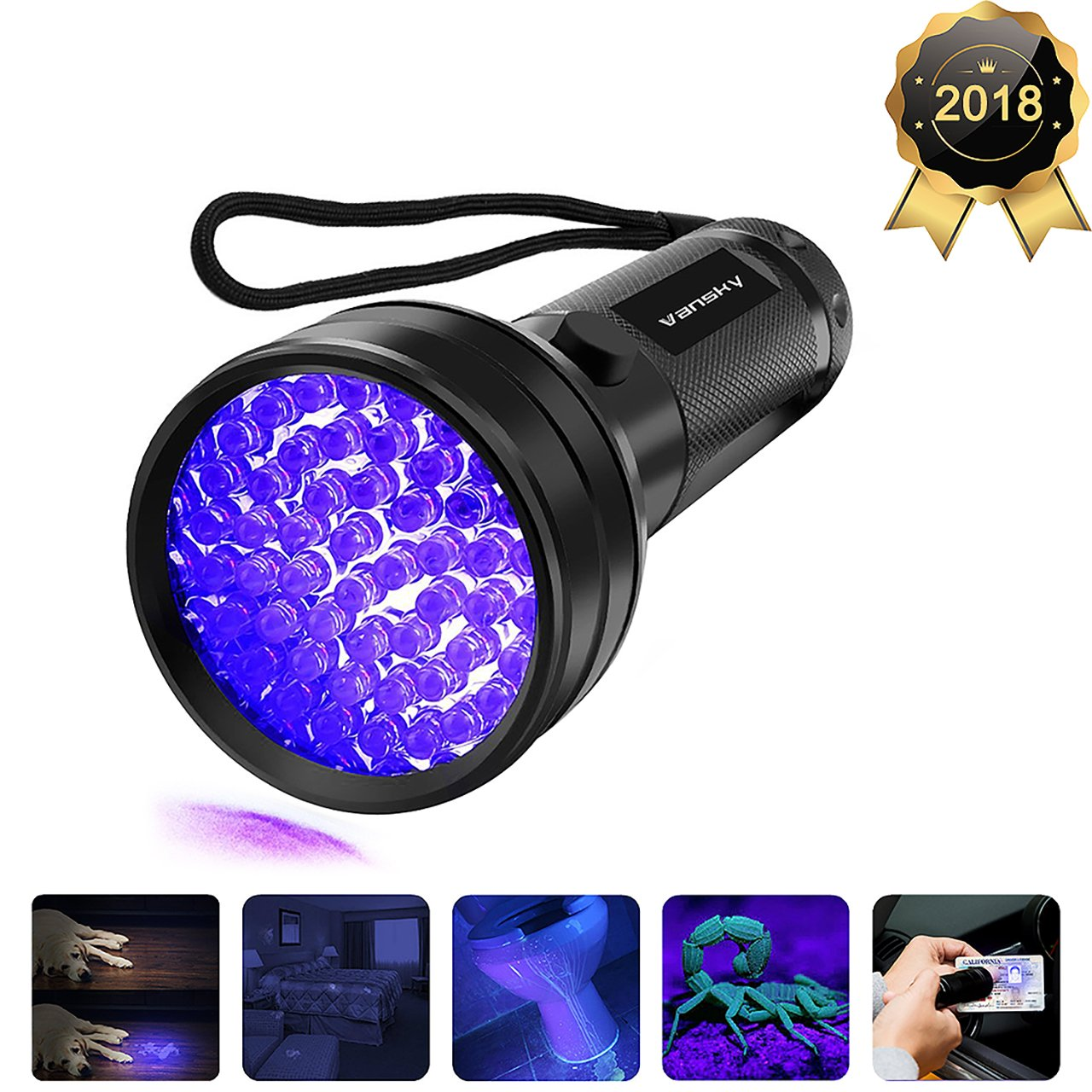 Vansky Black Light UV Flashlight, 2018 Upgraded UV Lights 51 LED Ultraviolet Blacklight Pet Urine Detector for Dog/Cat Urine,Dry Stains,Bed Bug, Matching with Pet Odor Eliminator