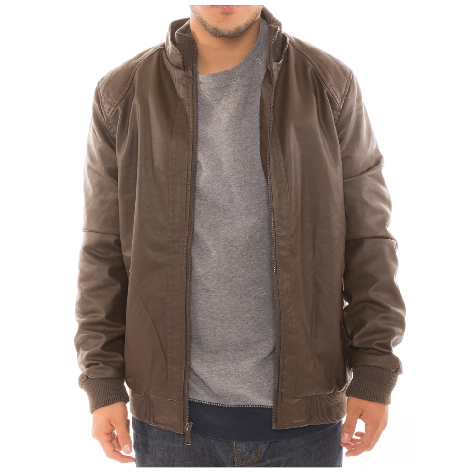 Men's Motorcycle Bomber Faux Leather Jacket Fleece Lined with Zippered Pockets - Brown - S