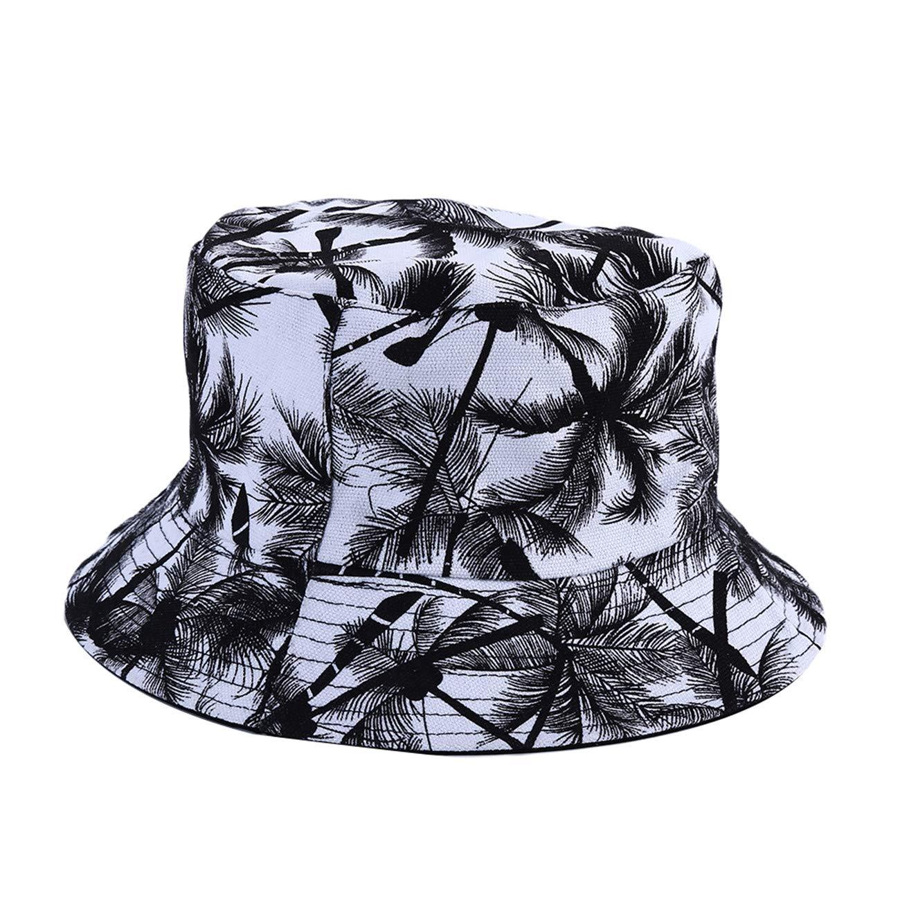 ZALING Women Double-Sided Wear Maple Leaf Pattern Print Bucket Cap Hats Outdoor Leisure Caps Shade Fisherman Hat