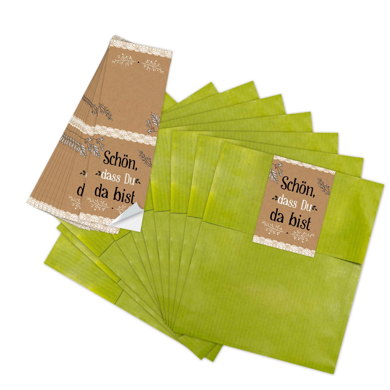 Logbuch-Verlag 50 gr/üne Mini-Papiert/üten 13 x 18 cm Banderolen zum Zukleben SCH/ÖN DASS DU DA BIST braun schwarz wei/ß Geschenkverpackung Hochzeit DIY Gastgeschenk Give-Away festlich