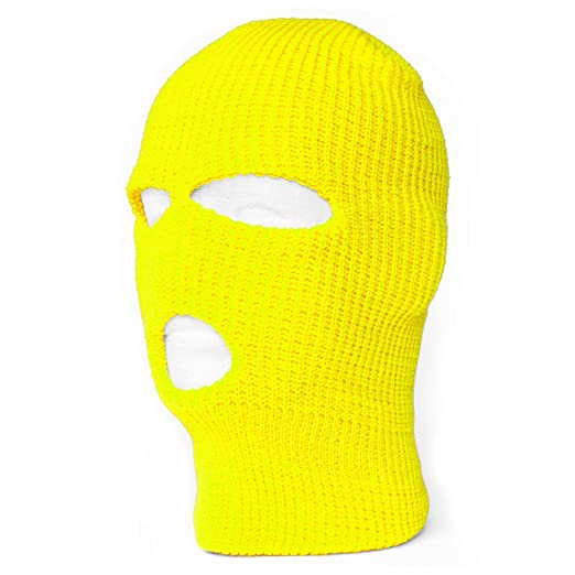 1ff5df0220e Image Unavailable. Image not available for. Color  TOP HEADWEAR Three Hole  Neon Colored Ski Mask - Yellow
