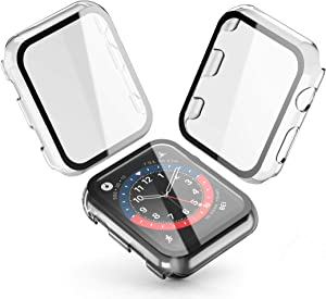 [2-Pack] Julk Transparent Hard Case for Apple Watch Series 3 / Series 2 Screen Protector 42mm, Hard PC Case Slim Tempered Glass Screen Protector Overall Protective Cover for iwatch Series 3/2