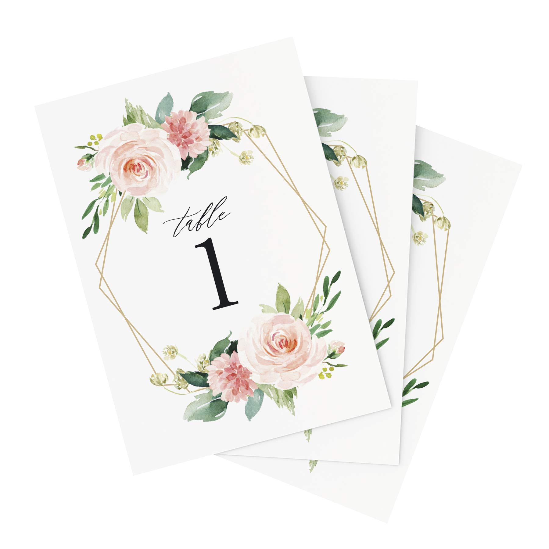 Bliss Paper Boutique Floral Wedding Table Numbers, 1-25, Centerpiece Decorations, Double Sided 4x6 Blush, Coral and Greenery Geometric Style Design, Numbers 1-25 & Head Table Card Included — from
